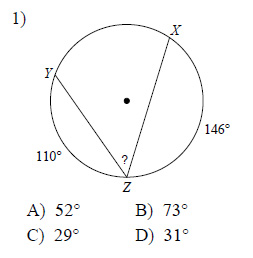 Circles - Inscribed angles Worksheets