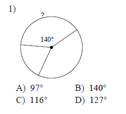 Circles - Measures of arcs and central angles Worksheets