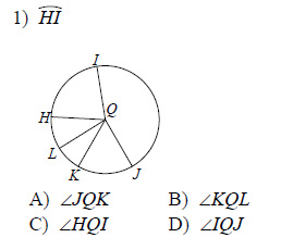 Circles - Naming arcs and central angles Worksheets