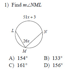 Circles - Secant-tangent angles Worksheets