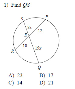 Circles - Segment measures Worksheets