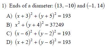 Writing equations of circles Worksheets